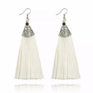 Jewelry - Summer White Fringe Dangle Statement Earrings